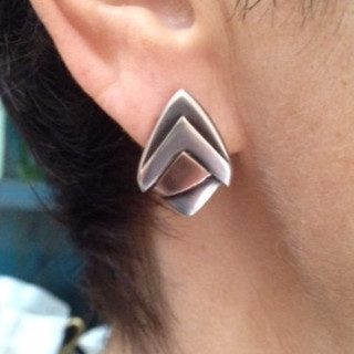 Deco earrings.  £150  Sterling silver and 9ct rose gold earrings. 22mm long.  Christine Savage 07966550936