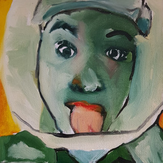 Caroline, Ambulance crew, Oil on canvas, 30 x 30cm