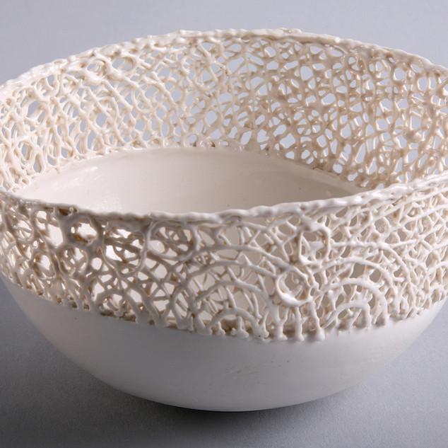 Spun porcelain bowl