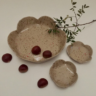 Flower bowls Flower shaped stoneware bowls set3 Ima Kawamura