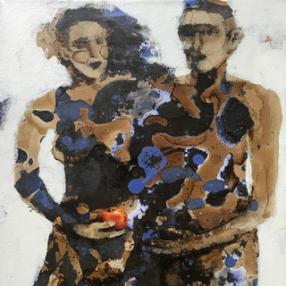 Adam and Eve Acrylic and mixed media on canvas, 30x20cm, £190 Please text Siglint Kessler 07730871780