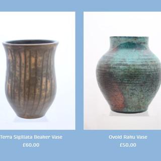 Peter Smith Terra Sigillata Urn Vase and Raku Vase Available to buy at: www.petersmithceramics.uk