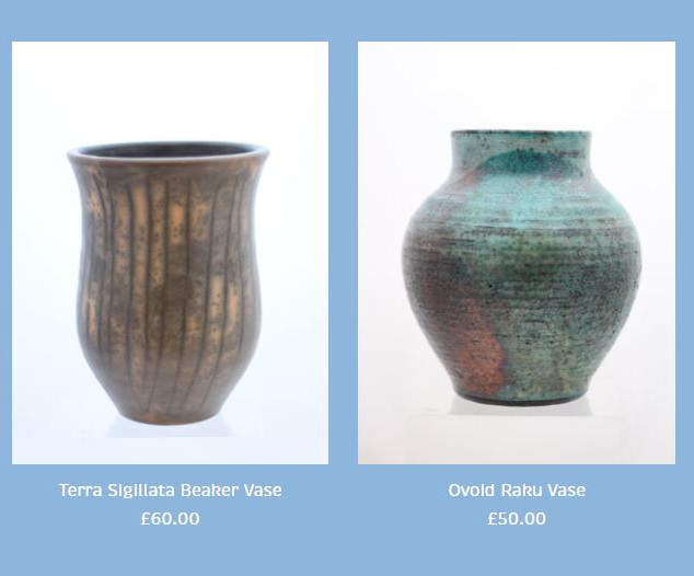 Peter Smith Terra Sigillata Urn Vase and Raku Vase Available to buy at: www.petersmithceramics.uk