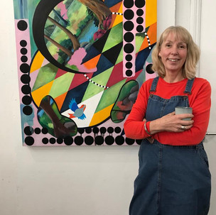 Nicki Rolls with her work at Open Studios 2019