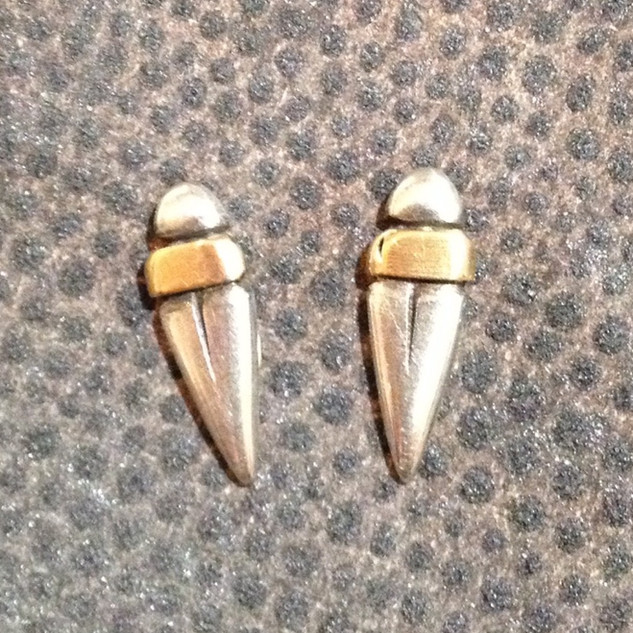 Small beetle studs.  £69  Sterling silver and 9ct rose gold, small beetle studs,17mm long.  Christine Savage 07966550936