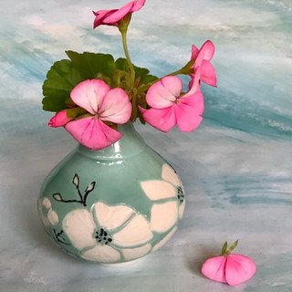 Gioilla Zordan: Cornus Porcelain, thrown, green slip, carved bud vase H 9.5 £40