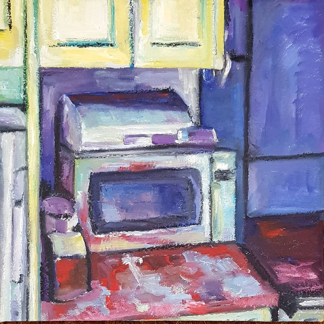 Kitchen corner Oil on Canvas mounted on board, 34cm x 34cm, Nicki Rolls, £200 (all proceeds - £200 - will go to Trussel Trust food bank charity) All my works are available for viewing prior to purchase - feel free to email.