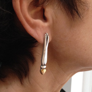 Wearing my Dragonfly earrings.  £190  Sterling silver and 18ct yellow gold, layered, carved and oxidised into stylised Dragonfly body and head, earrings, 47mm long.  I also make these just in silver for £95.  Christine Savage 07966550936