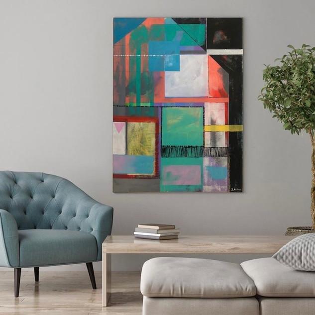 Title: Lockdown Rooms 76 cm x 56cm Acrylic on canvas