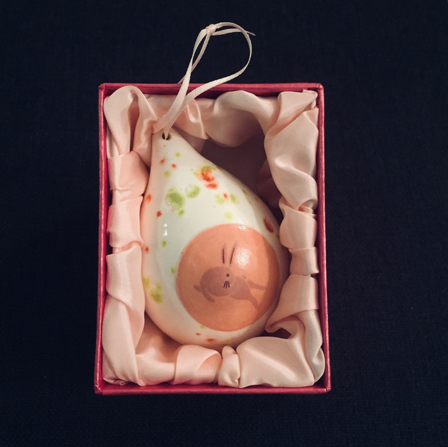 Xmas ornament pink bunny Hanging drop shaped ornament in the satin pink box Ima Kawamura