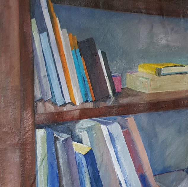 Bookcase Oil on Canvas mounted on board, 39cm x 36cm, Nicki Rolls, £200 (all proceeds - £200 - will go to Trussel Trust food bank charity) All my works are available for viewing prior to purchase - feel free to email.
