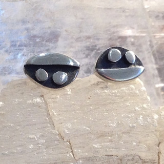 Peas in a pod studs.  £30  Oxidised Sterling silver studs, 10mm wide.  Christine Savage 07966550936