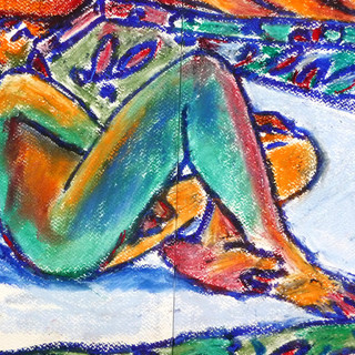 Reclining Male Pastel and Chalk on Paper