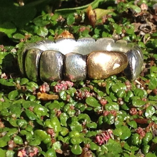 Caterpillar ring.  £195  Sterling silver, oxidised, ring carved into segments creating a stylised caterpillar with an applied 18ct gold layer on its tale.   Size to order.  Just in silver £89.  Christine Savage 07966550936