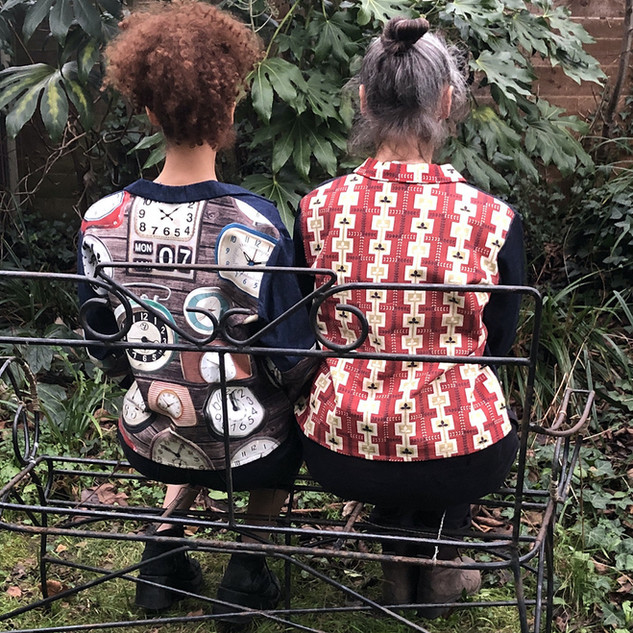 On the right: Vintage fabric and denim one off jacket. £160. 12-14.
