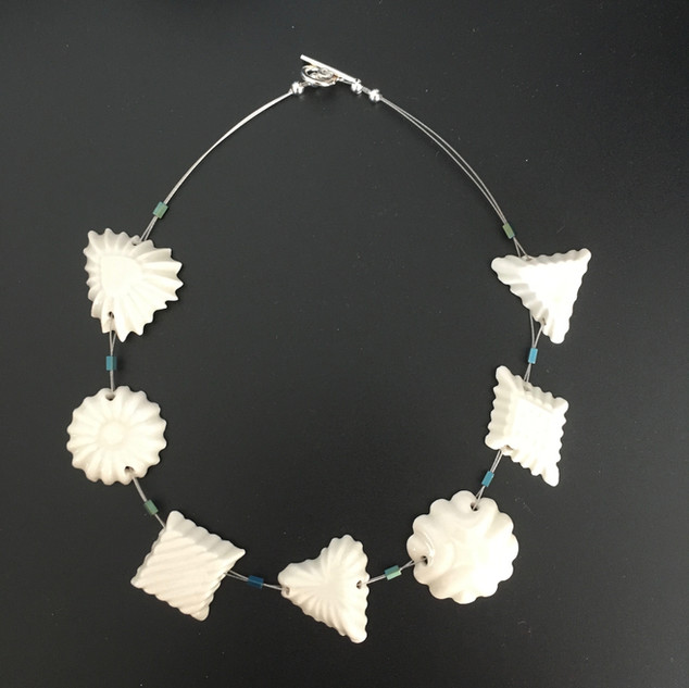 Necklace with handmade porcelain beads, £45 Please email or text Siglint Kessler 07730871780