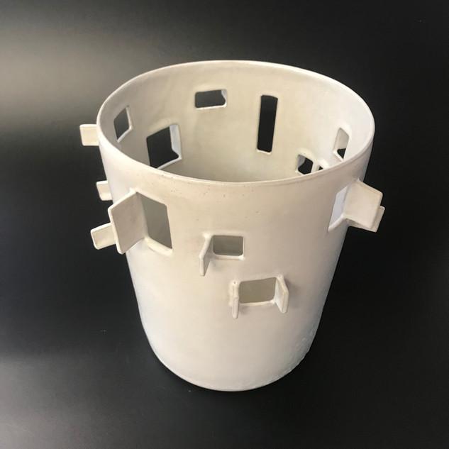 Window Vase Stoneware, slip cast and hand cut