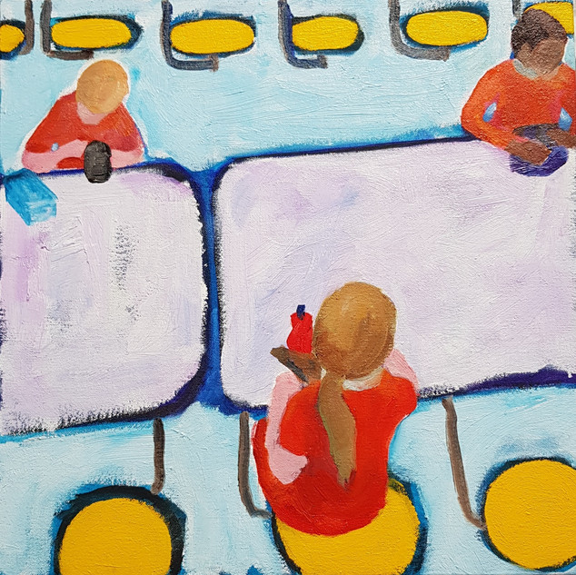 The social distance generation  Oil on canvas, 38 x 38cm, £300 Nicki Rolls