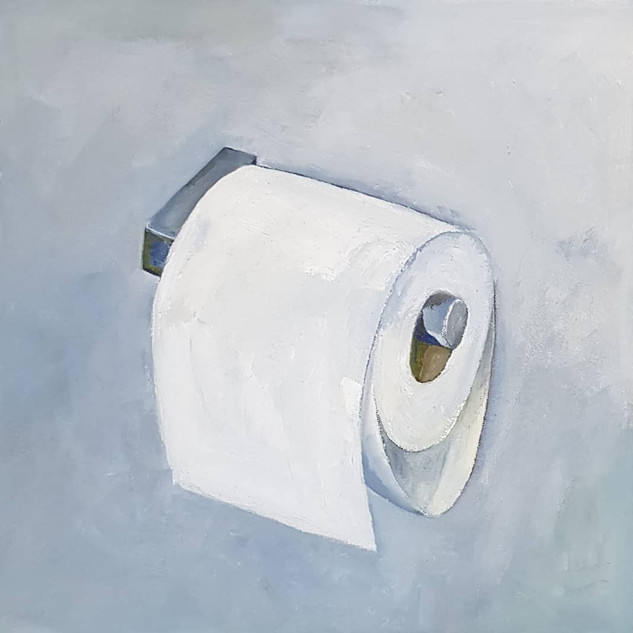 Shortage? What shortage? Oil on Canvas mounted on board, 30cm x 30cm, Nicki Rolls, £200 (all proceeds - £200 - will go to Trussel Trust food bank charity)