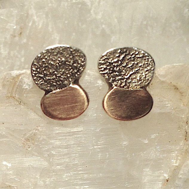 Mixed texture studs.  £69  Reticulated Sterling silver and rose gold studs.   9mm x 12mm.  Christine Savage 07966550936