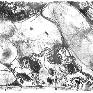 Covid Figure Monoprint 20cm x 60cm £100
