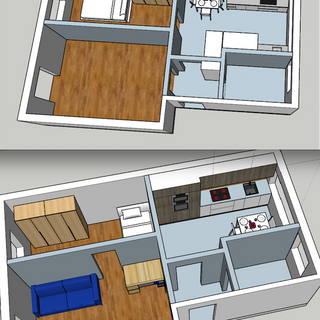 Before/After - SketchUp Small flat - effects of changing a door and repositioning kitchen