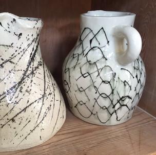 Earthenware vases by Oka Ward