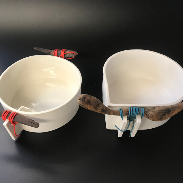 Driftwood bowls Porcelain with driftwood
