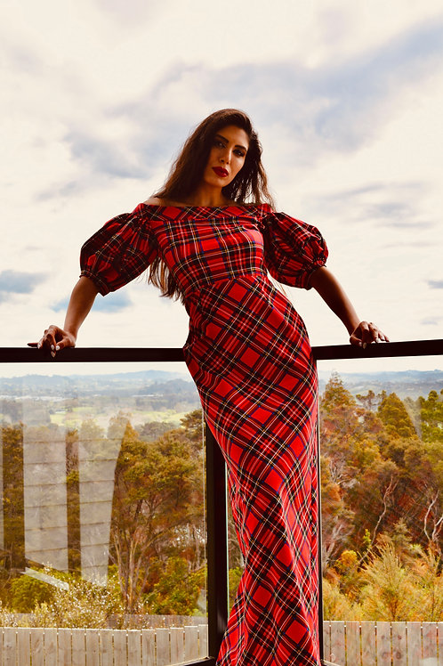 Off Shoulder Puffed Sleeves Plaid Dress