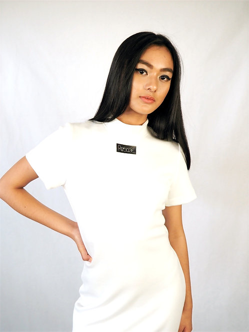 Ruscoe white bodycon - short sleeves and skirt