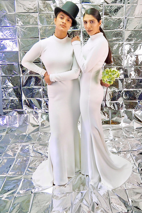 Cream Long Gown with Long Sleeves