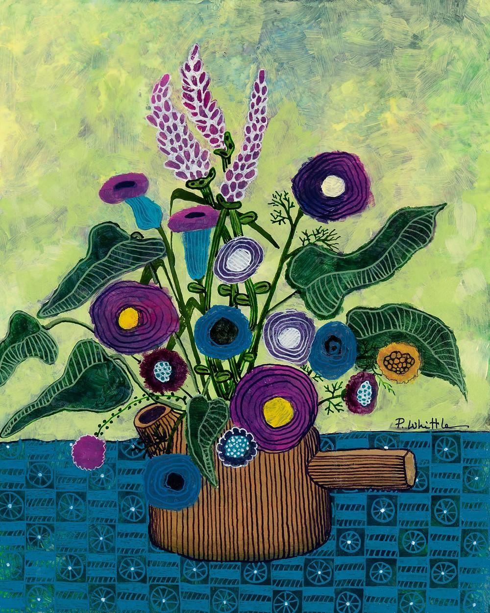 acrylic floral painting pattern stilllife blue art artist