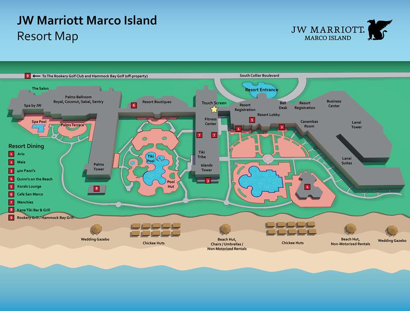 JW Marriott Marco Island Resort Map