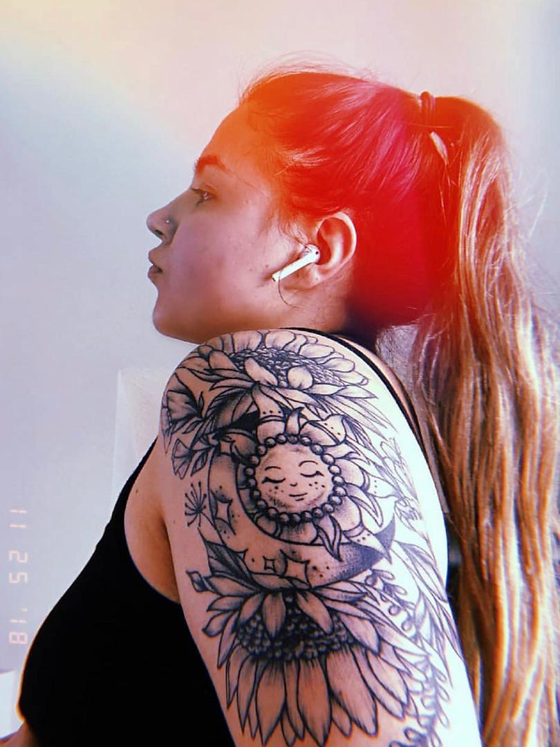 Moon and sun piece on Dani