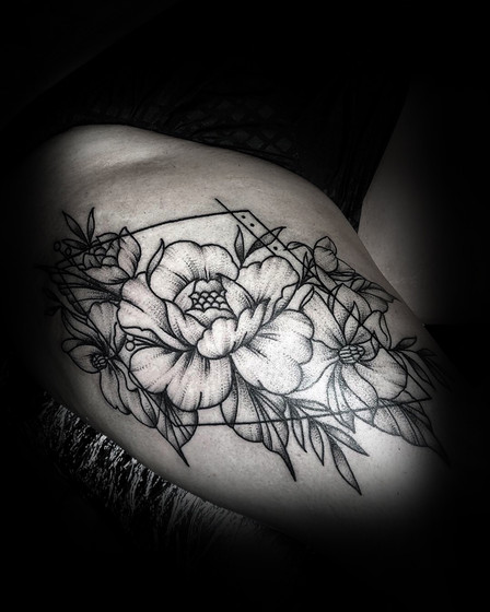 Peonies on the hip
