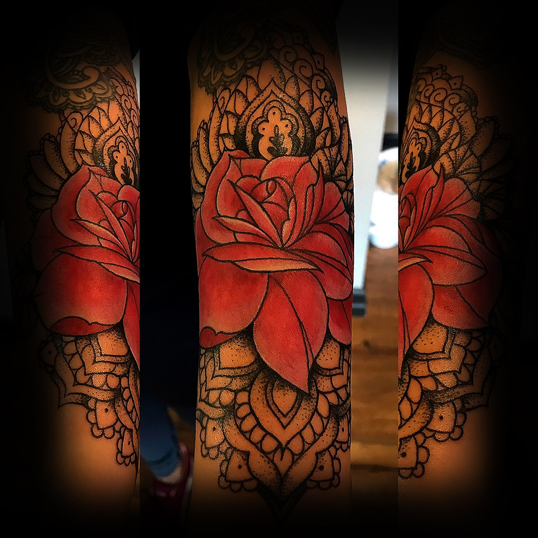 Ornamental Rose on forearm