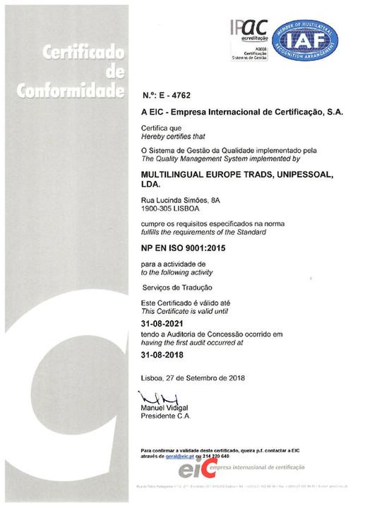 MULTILINGUAL EUROPE - certificada pela Norma ISO 9001:2015 e 17100:2016
