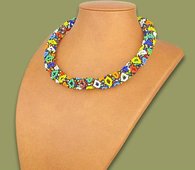 Beaded Imbobo necklace (Multicoloured)