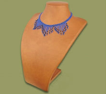 Beaded wide fringe necklace (Blue/Black)