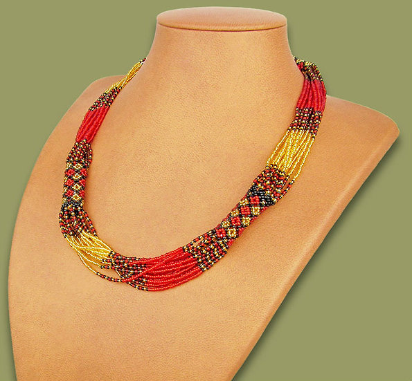 Beaded Mvovo necklace (Red/Gold/Black)