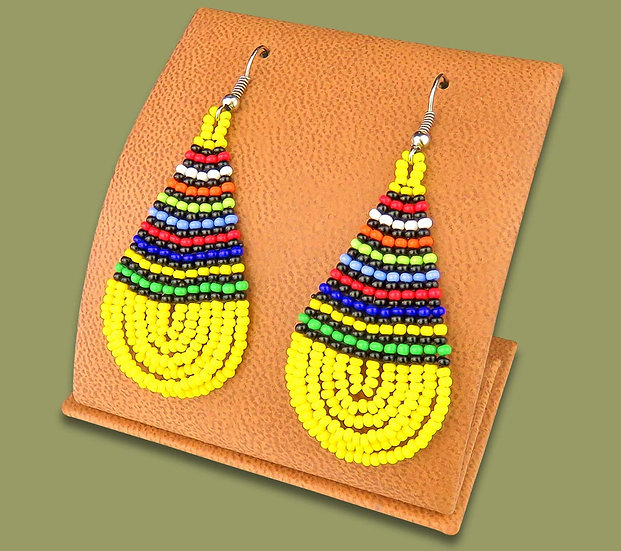 Beaded African teardrops (Yellow & Zulu colours)