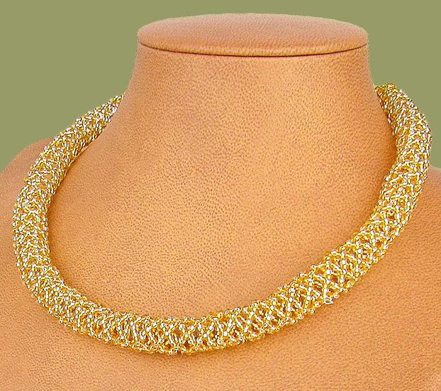 Beaded Imbobo necklace (Gold/White)