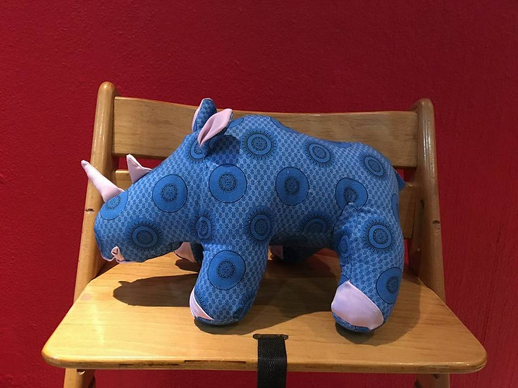 Rambling Rhino in blue and pink