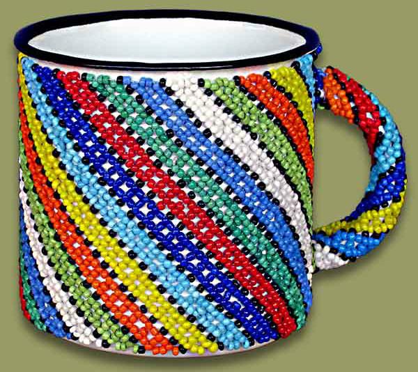 Beaded tin mug (Stripes)