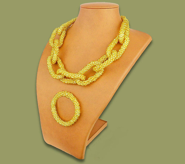 Beaded chain necklace & bracelet (Yellow)