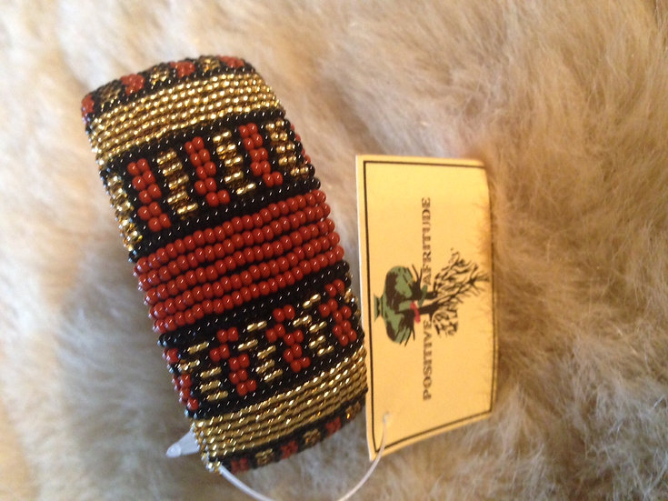 Beaded bangle (Black/Gold/Brown)