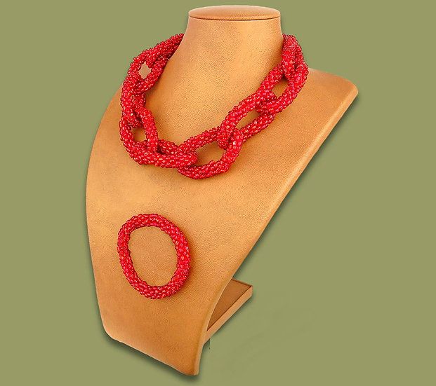 Beaded chain necklace & bracelet (Red)