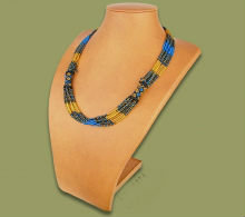 Beaded Mvovo necklace (Blue/Gold/Black)