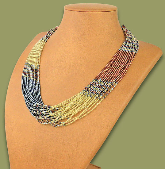 Beaded Multi-Layer Necklace (Gold/Copper/Metallic)