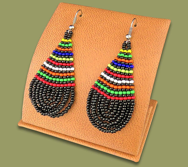Beaded African teardrops (Black with Zulu colours)